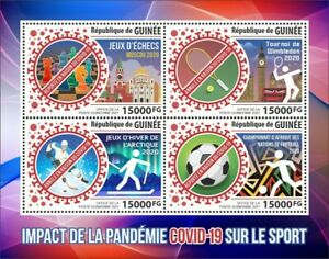 Guinea - 2021 Pandemic and Sports, Chess, Soccer - 4 Stamp Sheet - GU210154a