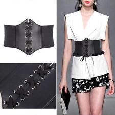 Women Waist Thinning Wide Band Waspie Corset Leather Elastic Tied Belt Black /UK
