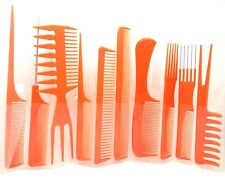 10 piece High Quality Hair Styling Comb Set Professional Orange Brush Barbers