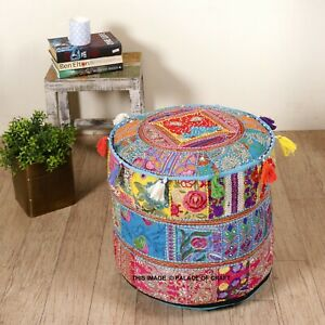Traditional Home Decorative Cotton Ottoman Handmade Seating Pouf Throw Cover Art