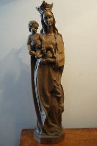 Holz Figur Kirche Madonna  Maria mit Jesus Kind geschnitzt 52 cm um 1960/70