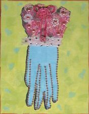 AFFORDABLE WALL ART ORNATE WOMAN'S GLOVE MIXED MEDIA COLLAGE ON WOOD VICTORIAN