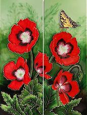 """Ceramic Tiles """"Butterfly Landing"""". Set of 2 Tiles"""
