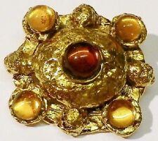 broche bijou vintage rétro finement travaillé cabochon citrine couleur or * 3952