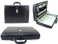 Mens Womens Executive Attache Case Faux Leather Expandable Briefcase Office Bag