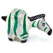 Crafts Caravan Hand Carved Soapstone Chubby White & Green Zebra Figurine Kenya