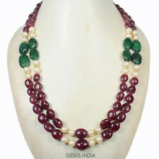 790 Cts~Handmade Natural Ruby Emerald & Pearl Designer Double Stranded Necklace