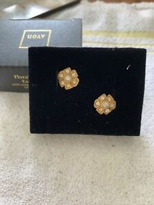Avon Floral Facets Earrings with suegical steel posts