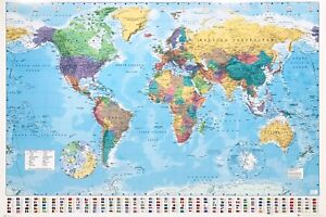 MAP OF THE WORLD LAMINATED POSTER GIANT SIZE 1MX1.4M FLAGS BRAND NEW WALL