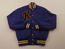 RARE Vtg Kalamazoo Christian Satin Jacket Size Medium Howe Purple Basketball Rad