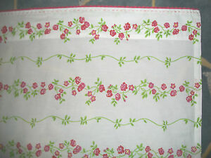 Pottery Barn Teen Twin XL Long Flat Sheet White Red Green Floral Rose Cotton