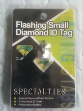 Dog/Cat Flashing SMALL DIAMOUND ID Tag for pets LED Safety Light