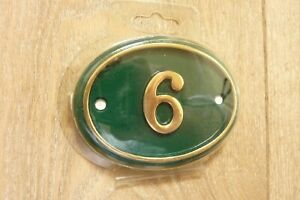 Classic House Number 6 in Heavy Solid Oval Shaped Lacquered Brass. 105mm x 80mm.