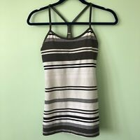 Lululemon Power Y Luon Light Tank Top Bra Groovy Stripe/Nimbus Soot Light 6 8