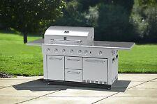 5 Burner Island Gas Grill BBQ Side Searing Rotisserie Refrigerator Cabinet Pro