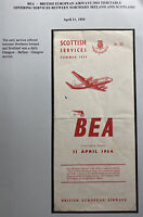 BEA British European Airways Scottish Services Brochure Information Timetable