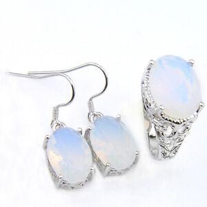 2Pcs Lots Shaped Rainbow Moonstone Gemstone Silver Earrings Rings Size 7 8 9