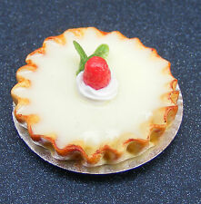 1:12 Scale Cherry Bakewell Tart Tumdee Dolls House Food Cake Accessory D4