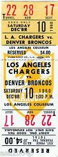 1960 INAUGURAL SEASON DENVER BRONCOS @ LOS ANGELES CHARGERS FULL TICKET STUB