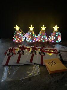 "4 Mr Christmas Ceramic Pink Christmas Tree Ornament Mantle Lighted 5"" & Gift Bag"