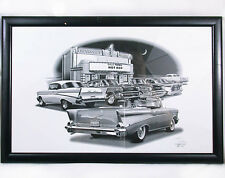 Gallery Framed Flashbacks 1957 Chevy BelAir Art Print #1503 Signed Thom Mint!