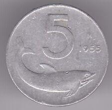 ITALIA 5 LIRE 1955 ALLUMINIO Coin-TIMONE E DELFINO