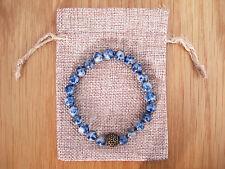 Antique Brass Charm, Sodalite Beaded Semi Precious Bracelet & Jute Gift Bag