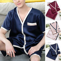 Mens Silk Satin Pyjamas Lounge Pajamas Sets Tops & Pants Loungewear Sleepwear