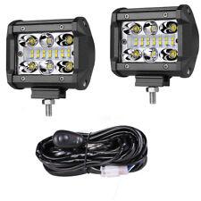 "12V Wiring Kit+ 4"" Quad Row LED Pod Work Light Bar Spot Flood Driving Off road"