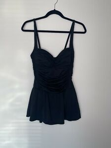 Rose Marie Reid black one piece swim suit with attached skirt women's sz M