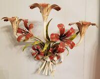 Vintage Italy Tole Tiger Lily Metal Enamel Flower Sconce 3 Candle Holder