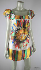 ARDEN B Dress M Bright Colorful Mod Graphic Floral Print Satin Puff Sleeve Shift