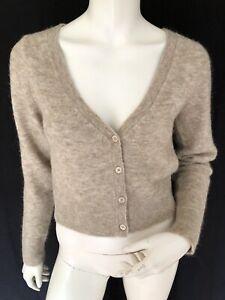 Weekday Tone Fluffy Cardigan Size XS In Beige U.K. 6