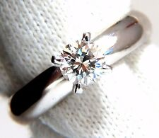 GIA Certified .51ct E.Vs2 natural round diamond ring platinum simplicity +
