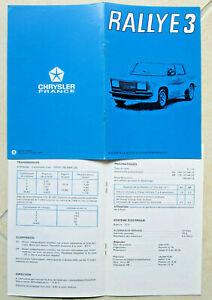 SIMCA 1000  RALLYE 3 : additif d'époque a la notice d'utilisation  1976-78  ??