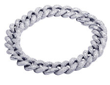 Unisex Diamond Italian Miami Cuban Bracelet 10K White Gold 7 3/4 CT 12MM 7.5""