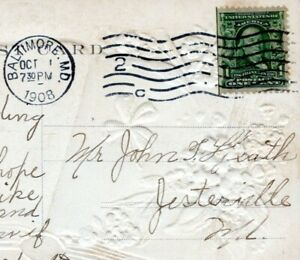 1908 BALTIMORE MARYLAND POSTMARK to Jesterville Heath Wicomico Postcard Cover HN