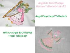 Angel N Pink W/ Harp + Christmas Angels! Vtg German Tablecloth Lot Of 2