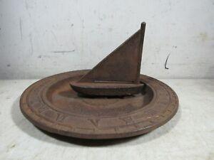 """Vintage/Antique Cast Iron Sailboat Roman Numerals Tempus Fugit Sundial 10"""""""