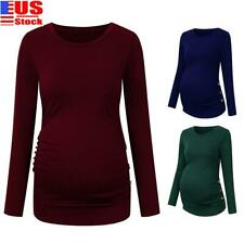 Pregnant Women's Maternity Clothes Shirt Long Sleeve Solid Tops Casual Blouse US