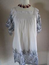 Damen Tunika Strandkleid Big Size Weiß ab Gr. 42 bis 46 Locker Sitzend