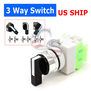 3 way ON/OFF AC DC 22mm ROTARY TWO POSITION SELECTOR SWITCH POWER LAY37 Lay 7