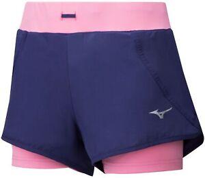 Mizuno Mujin 2 In 1 Womens Running Shorts - Blue
