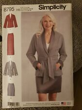 Simplicity 8795 Smart Blazer w Tie-Wrap Belt, Skirt in 2 Lengths Sz 16-24 UNCUT