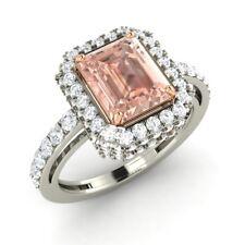 Certified Platinum Engagement Ring 2.18 Ctw Emerald-Cut Morganite & G/SI Diamond