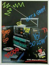1989 AIWA Portable Stereo Dual Cassette/CD Radio Boombox Magazine Print Ad