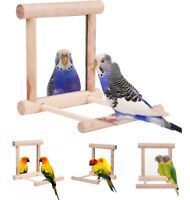 Bird Toy Cage Swing Chewing Wooden Mirror for Parrot Parakeet Conure Cockatiel
