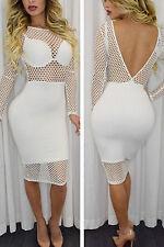 Abito Nudo aderente trasparente aperto rete Midi Fishnet Design Dress clubwear L