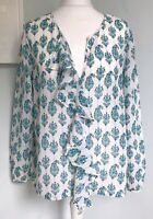 CLUB MONACO White Blue Floral Silk Top M UK 12 Relaxed Crinkle Cover Up Summer