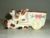 Vintage Ceramic Planter Stubborn Donkey with Cart